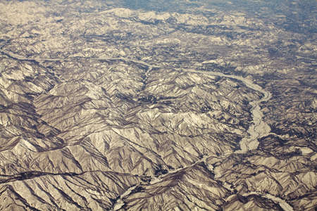 Landscape of snow mountains in Japan near Tokyo, aerial view