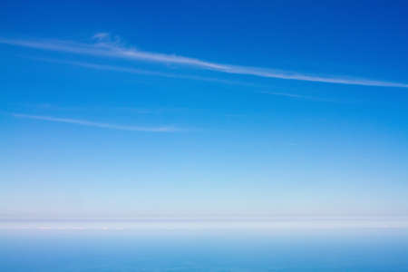 Pure background of ocean, coastline and sky, from aerial view near Tokyo bay