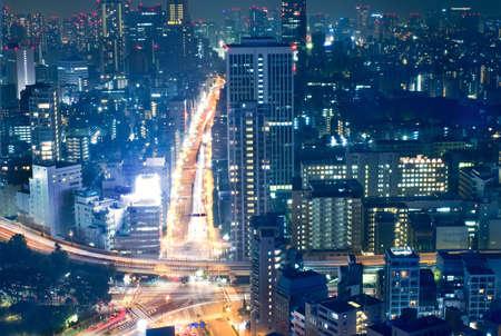 Tokyo cityscape gece görünümü, merkezi iş alanı