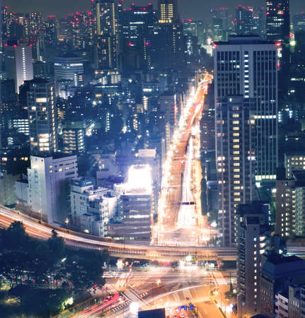 Night view of Tokyo cityscape , the central business district photo