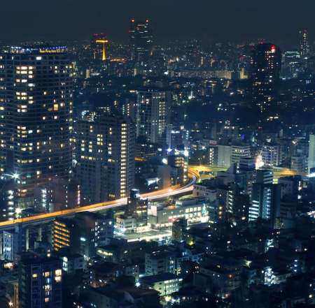 night life: Night view of Tokyo cityscape , the central business district