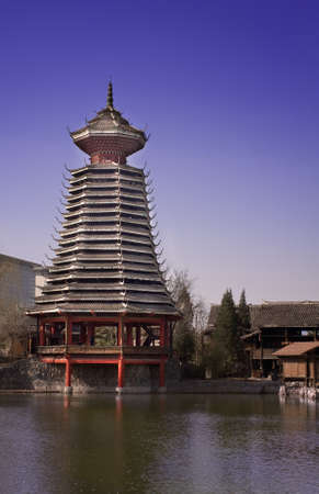 Landscape photo of Traditional Chinese buildings in National Park, China, Beijing Stock Photo