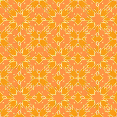seamless abstract geometric pattern in orange with a white outline