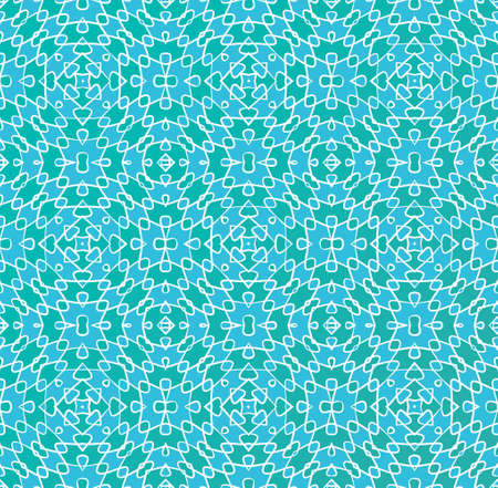 seamless abstract geometric pattern in blue and green with a white outline