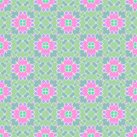 seamless geometric flower pattern in pink and green with a white outline