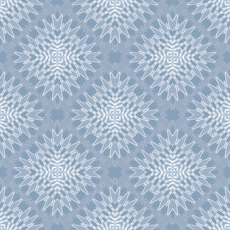 seamless abstract geometric pattern in blue with a white outline Illustration