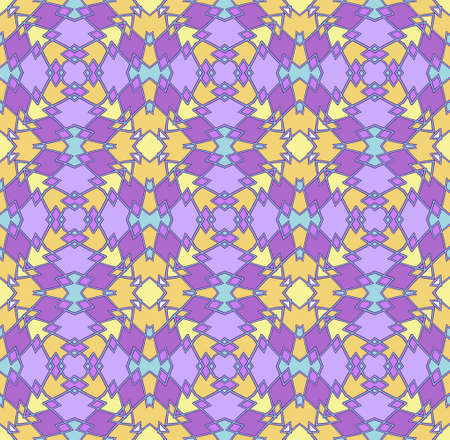 seamless abstract geometric pattern in yellow, gold and purple with a blue outline Illustration
