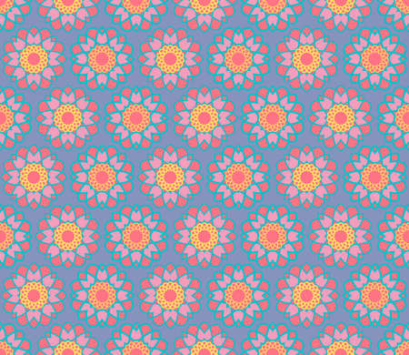 seamless guilloche flower pattern in red and pink with a blue and yellow line on an ultraviolet