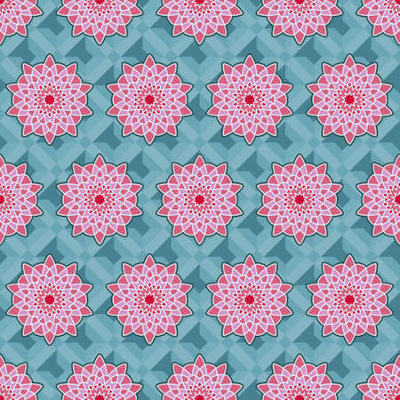 seamless rosette guilloche flower pattern in pinks with a white outline on a blue geometric background