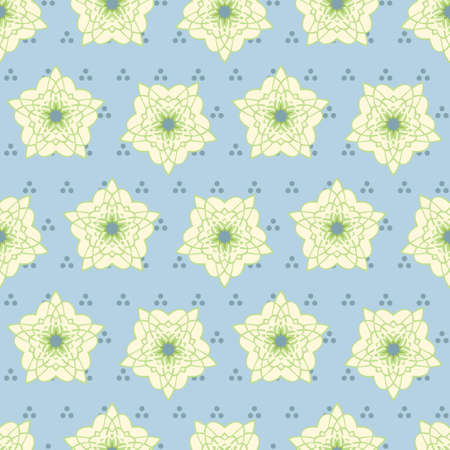 seamless rosette guilloche flower pattern in light yellow with a green line on a pale blue background