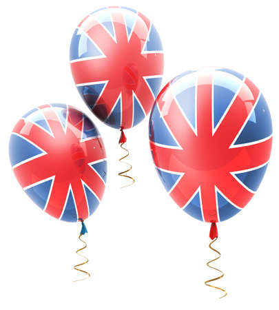 balls with symbols of the U.K. on a white background ( high resolution ) 3d render  photo