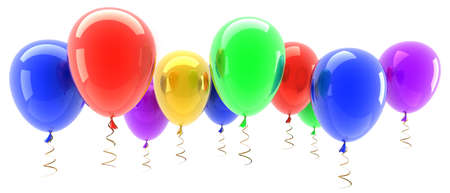 multicolored party balloons isolated on white background 3d illustration. high resolution  illustration