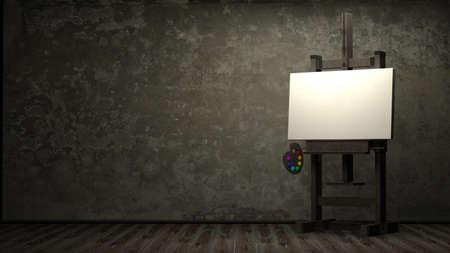 Blanco lienzo en blanco para el artista en el caballete de madera en 3d habitaci�n oscura