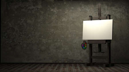 dark room: Empty white canvas for artist on wooden easel in dark room 3d