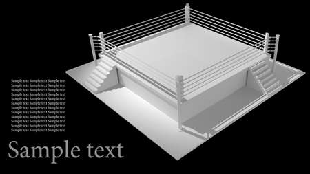 Boxing ring isolated on black background - 3d render high resolution Stock Photo - 12092086