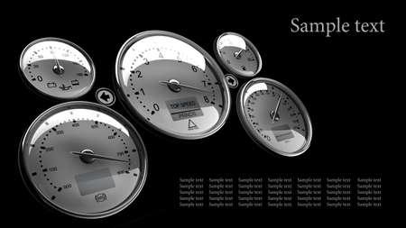 Dashboard detail 3d on black background ( high resolution ) photo