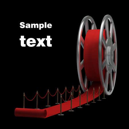 Cine rollo de pel�cula y la alfombra roja de la resoluci�n, ilustraci�n 3D de alta Foto de archivo