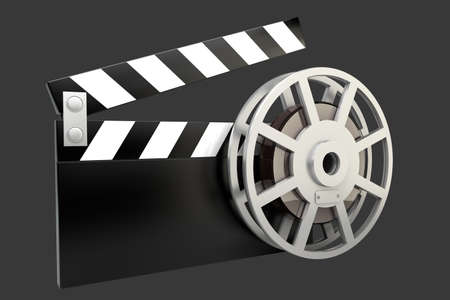 Film and clap board movies symbol  High resolution  3D image photo