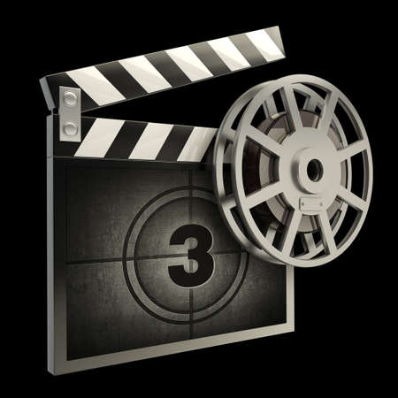 film industry: Film and clap board movies symbol closeup isolated on black  High resolution  3D image