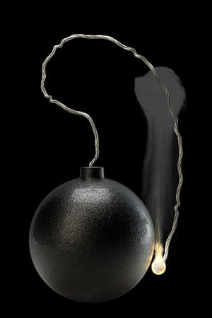 munition: Cannonball bomb isolated on black background High resolution 3D