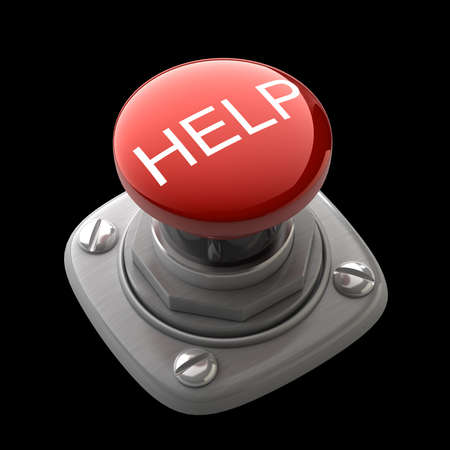 Red help button Isolated High resolution. 3D image photo