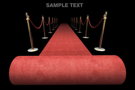 black carpet: red carpet isolated on black background High resolution. 3D image