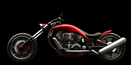 concept motorcycle isolated on black background (No trademark issues is my own design) High resolution 3D Stock Photo - 12980267