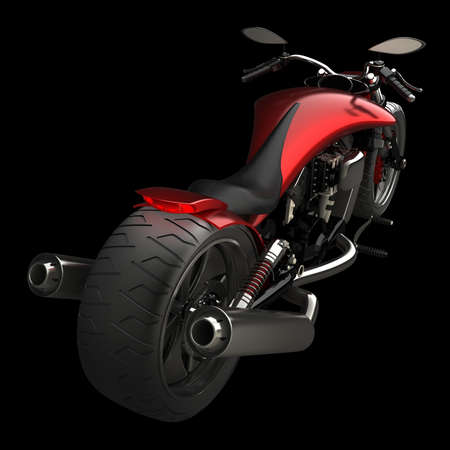 concept motorcycle isolated on black background (No trademark issues is my own design) High resolution 3D Stock Photo - 12980012