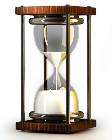 closeup of hourglass in warm on white background 3d render photo