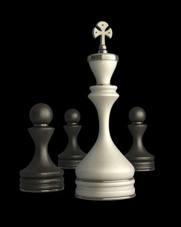 Chess king standing isolated on black background High resolution 3D photo