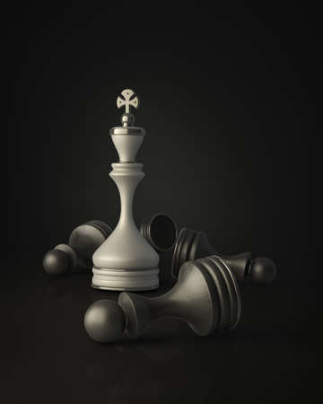 Chess king standing isolated on black background High resolution 3D