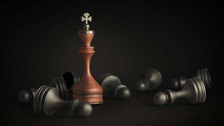 De pie de Ajedrez Rey aislados en negro la resoluci�n de fondo 3D de alta