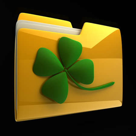 Yellow folder icon with clover isolated on black background High resolution 3D Stock Photo - 12980021
