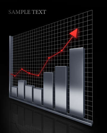 silver bars: Business Growth Silver Bars 3D Stock Photo