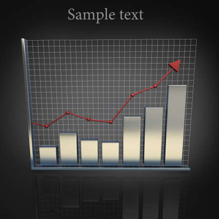 histogram: Business Growth Silver Bars 3D Stock Photo