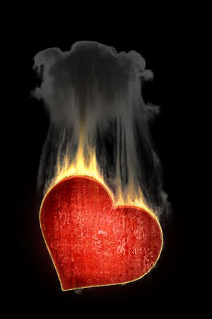 heart in fire on background 3d Stock Photo - 12981850
