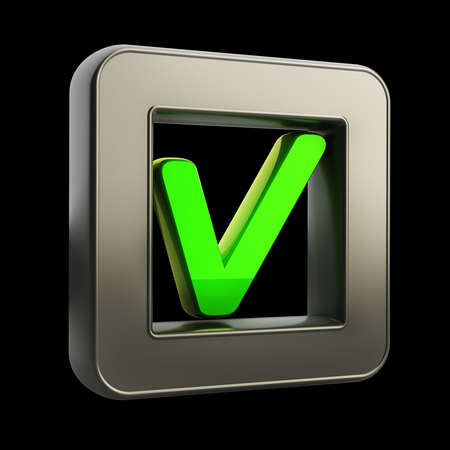 3D button icon with Tick symbol isolated on black background High resolution photo