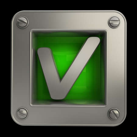 cgi: 3D button icon with Tick symbol isolated on black background High resolution Stock Photo