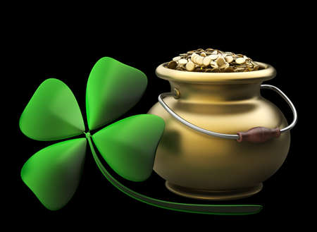 Golden pot full of gold coins isolated on black background High resolution 3D photo