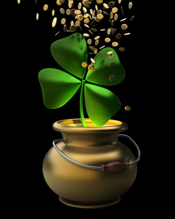 Golden pot full of gold coins isolated on black background High resolution 3D Stock Photo - 12980146