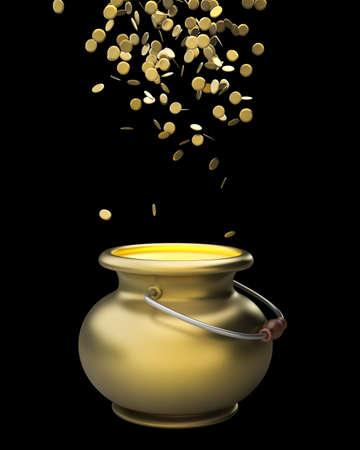 Golden pot full of gold coins 3d render photo