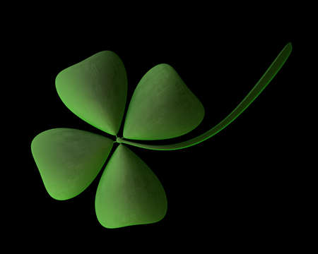 four objects: 3d render of green clover isolated on black background High resolution Stock Photo
