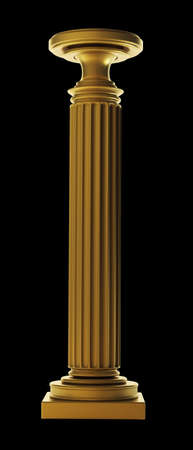 3d temple: Gold Classic Column isolated on black background High resolution 3D