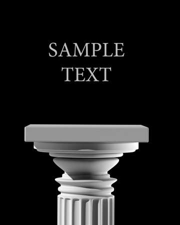3d temple: Column Pedestal isolated on black background High resolution 3D Stock Photo