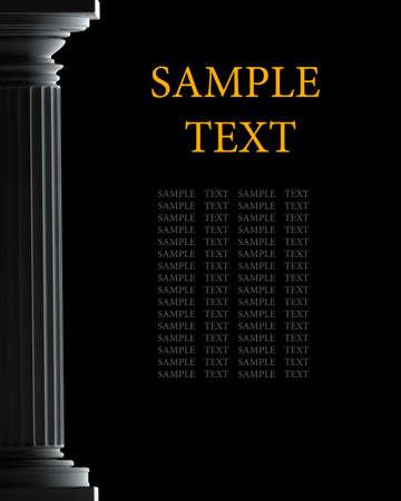 Columna cl�sico aislado en el fondo negro de alta resoluci�n en 3D Foto de archivo