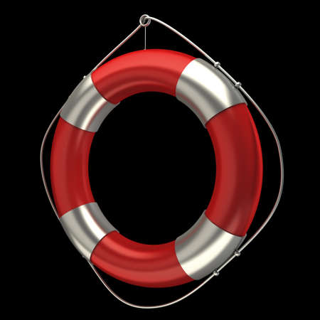 Red lifebelt isolated on black 3d render illustration  Stock Photo