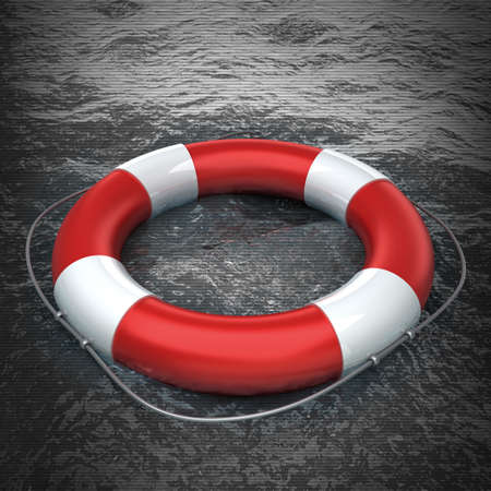 rescue circle: Red life buoy in the water  Stock Photo