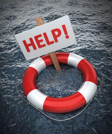 Bouée de sauvetage rouges avec une AIDE signe dans l'eau Banque d'images - 12980515