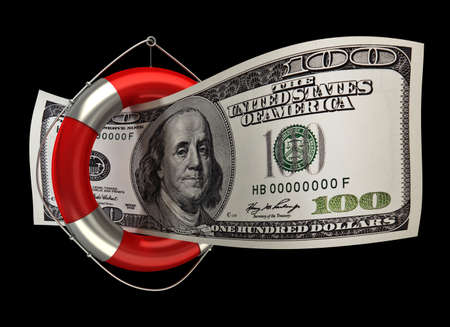 financial emergency: concept hundred dollars in a life buoy isolated on black background High resolution 3D Stock Photo