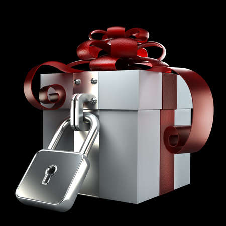 Gift box with the lock isolated on black background High resolution. 3D image photo